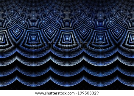 Intricate blue / silver abstract square curved wave design on black background - stock photo