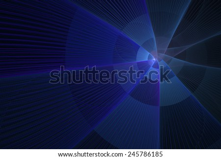 Intricate blue / teal abstract checkered rotating string disc on black background - stock photo