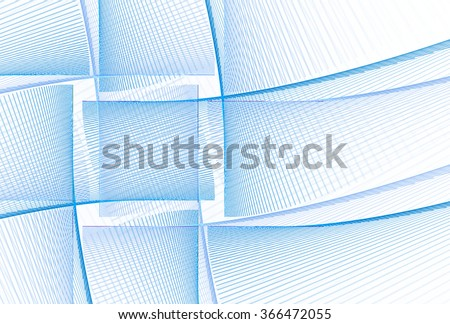 Intricate blue / white abstract woven square design on white background