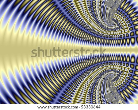 Intricate blue, yellow and silver abstract fractal design