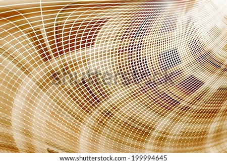 Intricate brown / copper abstract curved mosaic design on white background - stock photo