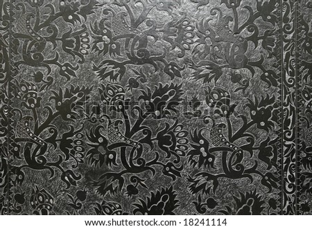 Intricate carving in black marble. Decoration in Czerna monastery in Malopolska, Poland.
