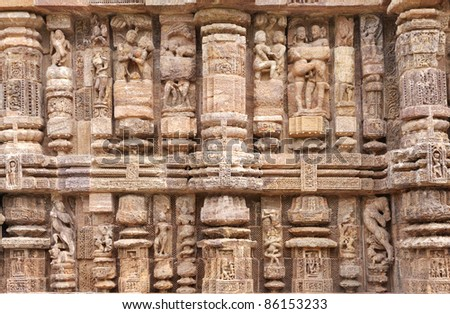 Intricate carving on Pillars and wall of Sun temple konark - stock photo