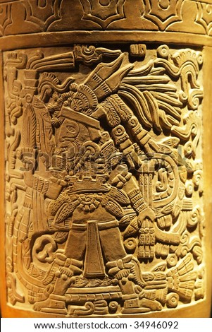 Intricate carving on vase made by the ancient Aztec of Tenochtitlan, Mexico City, Mexico. - stock photo