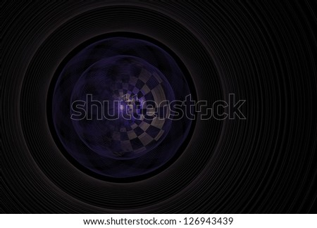 Intricate checkered green and purple abstract disc on black background