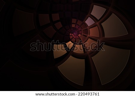 Intricate copper / brown / purple tiled spiral design on black background - stock photo