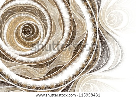 Intricate copper / cream / brown abstract rose design on white background - stock photo