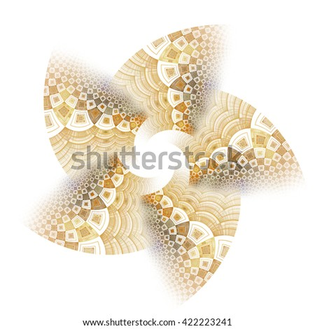 Intricate copper / gold abstract flower / fan design on white background - stock photo
