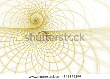 Intricate copper / gold abstract spiral string design on white background  - stock photo