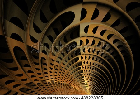 Intricate copper / gold abstract woven 3D arch design on black background