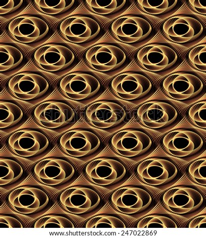 Intricate copper / gold woven spring disc design on black background (tile able / 3D) - stock photo