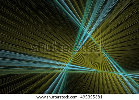 Intricate cyan, green and yellow spiral triangle design on black background