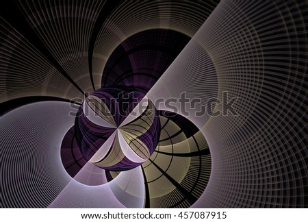 Intricate flower / disc abstract woven design (purple and gold) on black background - stock photo