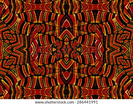 Intricate geometric tribal style abstract seamless artwork in vivid and saturated red and orange colors. - stock photo