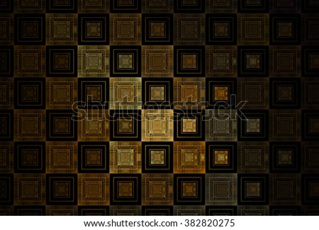 Intricate gold / copper repeating square pattern on black background - stock photo