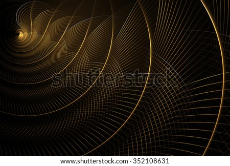 Intricate gold curved mesh design on black background - stock photo