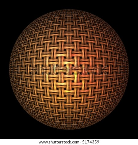 Intricate gold / orange woven sphere on black background