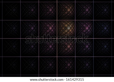 Intricate gold / purple abstract woven grid design on black background - stock photo