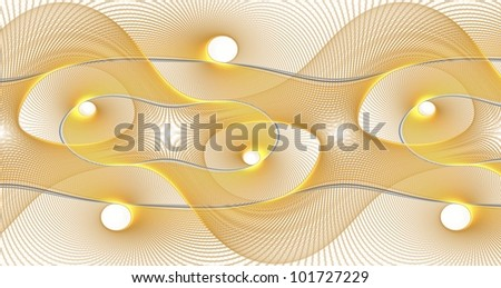 Intricate gold / silver spring / string / wire curved abstract design on white background - stock photo