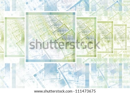 Intricate green and blue abstract square pattern on white background - stock photo