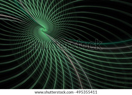 Intricate green and grey abstract woven spiral design on black background