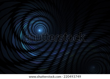 Intricate green, blue and purple square / spiral tile design on black background - stock photo