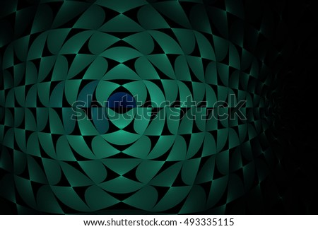 Intricate green, blue and teal abstract woven bulge design on black background
