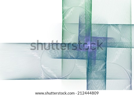 Intricate green, blue, purple abstract square spiral design on white background  - stock photo
