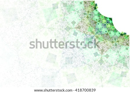 Intricate green / teal abstract connected diamond design on white background  - stock photo