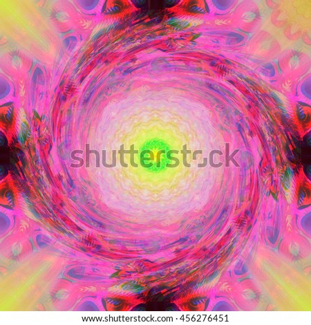 Intricate Hot pink yellow black lime green twirl twist spin oval abstract art design pattern background backdrop  - stock photo