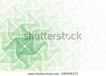 Intricate lime / green abstract diamond ribbon / wave design on white background  - stock photo