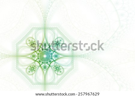 Intricate lime / green abstract flower / octagon on white background  - stock photo