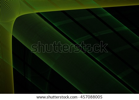 Intricate lime / green abstract woven design on black background - stock photo