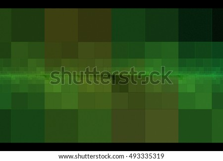 Intricate lime, green and brown abstract checkered / tiled wall design on black background