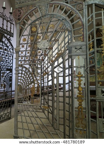Intricate Metal gate inside Saint Peters cathedral in Osnabruck Germany