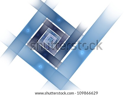 Intricate navy / blue abstract diamond spiral on white background - stock photo