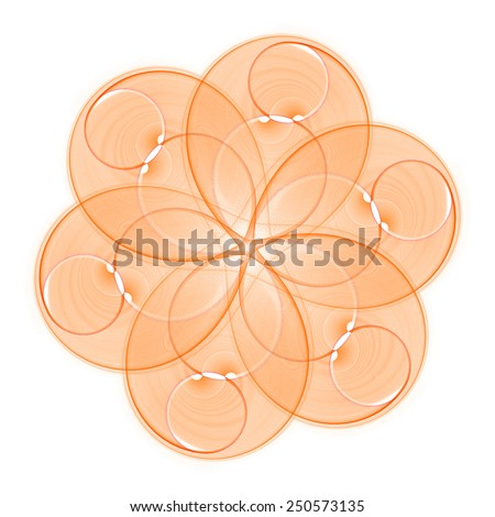 Intricate orange abstract disc- flower design on white background  - stock photo
