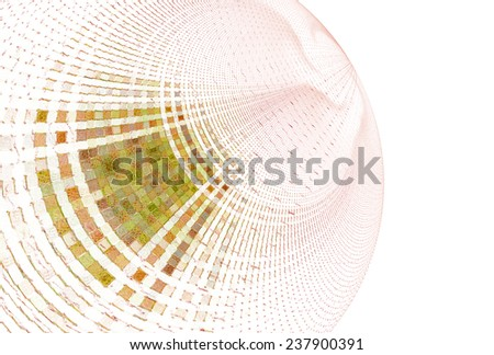 Intricate orange / green abstract curved mosaic design on white background  - stock photo