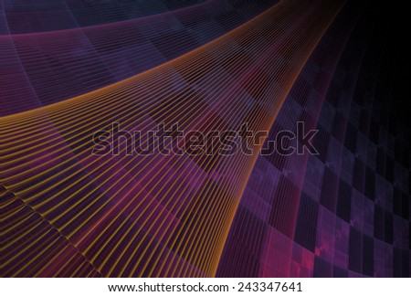 Intricate orange, pink and purple abstract checkered curved string design on black background - stock photo