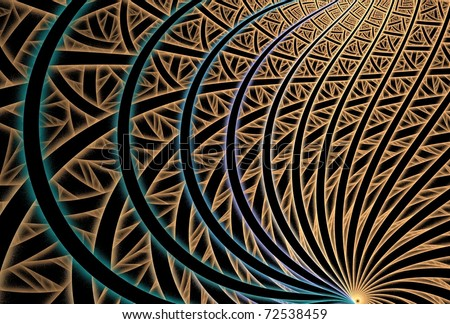 Intricate orange, tan, blue, purple and teal abstract fractal spiral on black background - stock photo