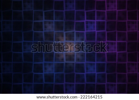 Intricate peach, blue and pink abstract checkered grid on black background - stock photo