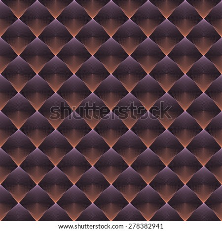 Intricate peach / purple abstract woven string diamond design on black background (tile able) - stock photo