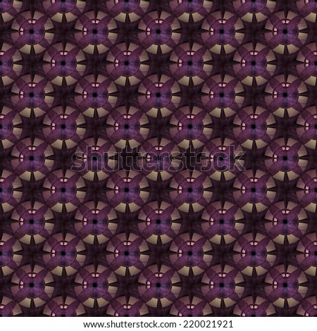 Intricate peach / purple disc/ star design on black background (tile able) - stock photo