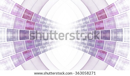 Intricate pink and purple abstract curve / rectangle design on white background  - stock photo
