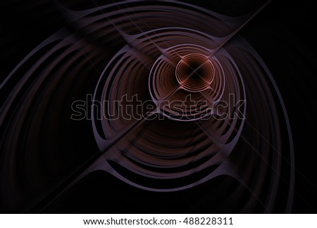 Intricate pink / peach abstract 3D ripple disc design on black background