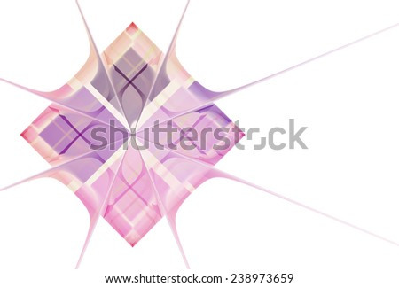 Intricate pink / purple abstract diamond tile design on white background  - stock photo