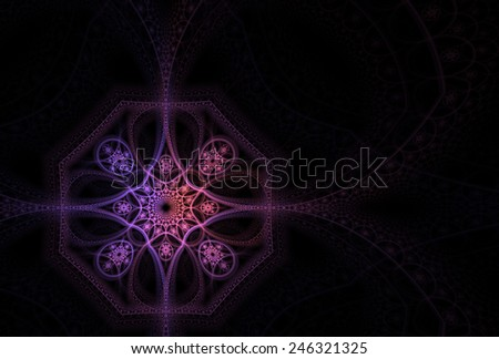 Intricate pink / purple abstract flower / octagon on black background - stock photo