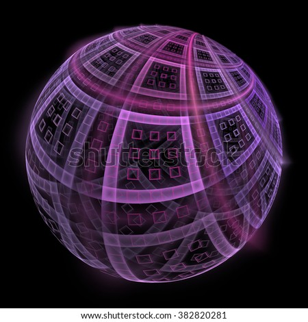 Intricate pink / purple abstract sphere / square design on black background
