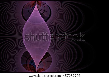 Intricate pink / purple abstract woven spindle on black background - stock photo