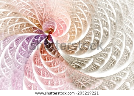 Intricate pink, purple and brown abstract textured curve design on white background - stock photo